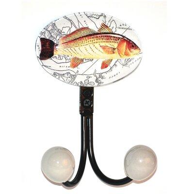 Charleston Fish Glass Inlay Double Hook