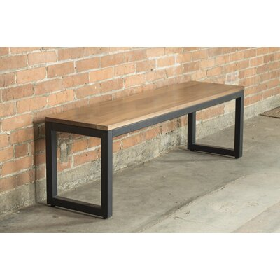 "Loft Metal and Wood Bench Frame Color: Textured Black, Seat Color: Walnut, Size: 17"" H x 54"" W x 14"" D"