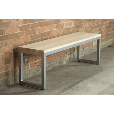 "Loft Metal and Wood Bench Frame Color: Gloss Silver, Seat Color: Ash Onyx, Size: 17"" H x 66"" W x 14"" D"