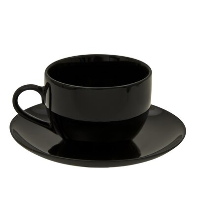 Ten Strawberry Street Black Coupe 8 oz. Teacup and Saucer