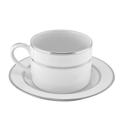 Ten Strawberry Street Silver Double Line 8 oz. Teacup and Saucer