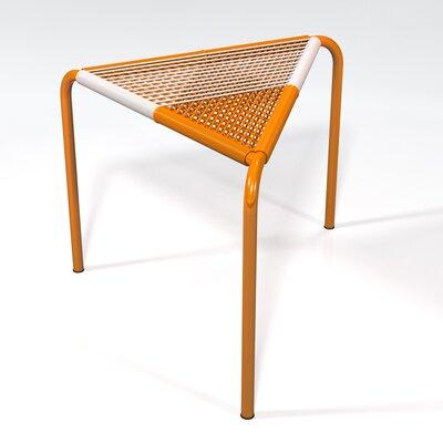 Stingo Hand-Woven PVC Cord Stool Color: White / Orange