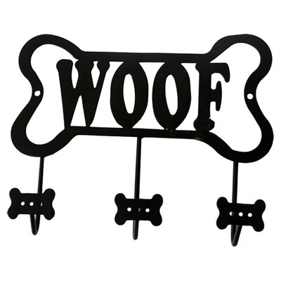 "Audra Bone Shaped ""Woof"" Leash Wall Hook Rack"