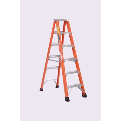 4.15 ft Fiberglass Step Ladder with 375 lb. Load Capacity