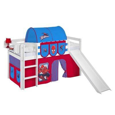 Lilokids Hochbett Jelle Spiderman mit Rutsche und Vorhang, 90 x 190 cm