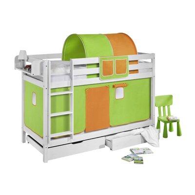 Lilokids Etagenbett Jelle mit Vorhang und 2 Lattenrosten, 90 x 190 cm