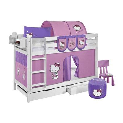 Lilokids Etagenbett Jelle Hello Kitty mit Vorhang und 2 Lattenrosten, 90 x 190 cm