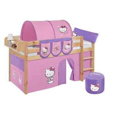 Lilokids Hochbett Jelle Hello Kitty mit Vorhang und Lattenrost, 90 x 200 cm