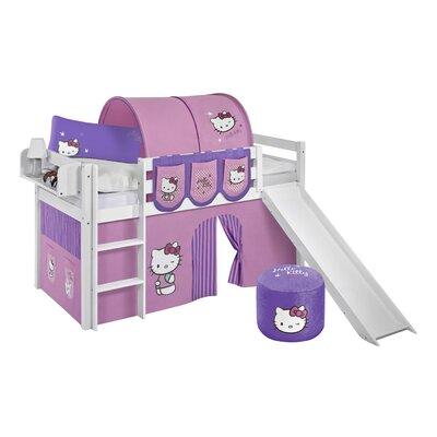 Lilokids Hochbett Jelle Hello Kitty mit Rutsche und Vorhang, 90 x 190 cm