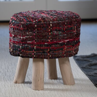 Wentworth Bogan Fabric Round Accent Stool Color: Red