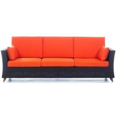 Rattan Deep Seating Sofa with Cushions Fabric: Orange