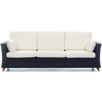 Rattan Deep Seating Sofa with Cushions Fabric: Canvas White