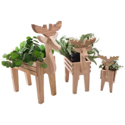3 Piece Cedar Statue Planter Set