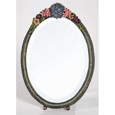 DUSX Barbola Oval Floral Frame Table Mirror