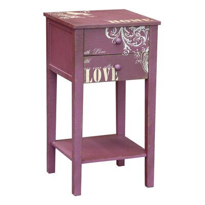 DUSX Just Mulberry 2 Drawer Bedside Table