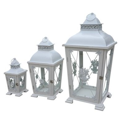 DUSX 3-Piece Lantern Set in Rustic White