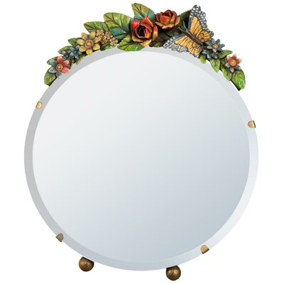 DUSX Barbola Round Floral Frame Table Mirror
