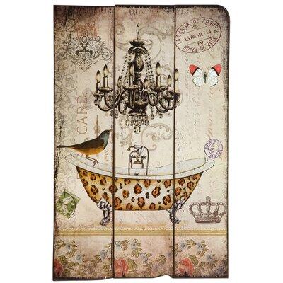 DUSX Vintage Wooden Bird with Bath Graphic Art Plaque