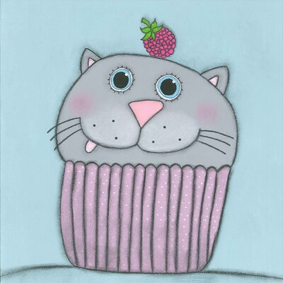 "'Kitten with Raspberry' by Tatijana Lawrence Painting Print Canvas Art Size: 32"" H x 32"" W x 1.5"" D"