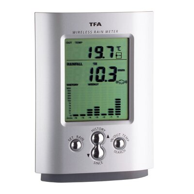 Green Wash Wireless Rain Gauge and Thermometer