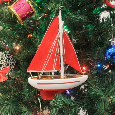 """9"""" Wooden Sailboat Model with Red Sails Christmas Tree Ornament Color: Red"""
