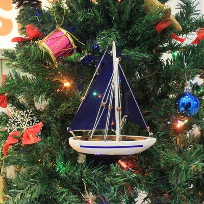 """9"""" Wooden Sailboat Model with Red Sails Christmas Tree Ornament Color: Blue"""