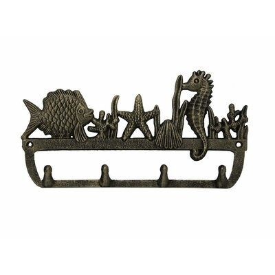 """12"""" Rustic Silver Cast Iron Wall Mounted Seahorse and Fish Hook Color: Rustic Gold"""