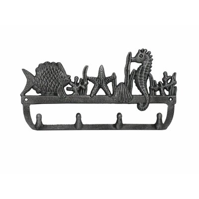"""12"""" Rustic Silver Cast Iron Wall Mounted Seahorse and Fish Hook Color: Rustic Silver"""