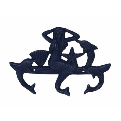"9"" Cast Iron Wall Mounted Mermaid with Dolphin Hook Color: Rustic Blue"