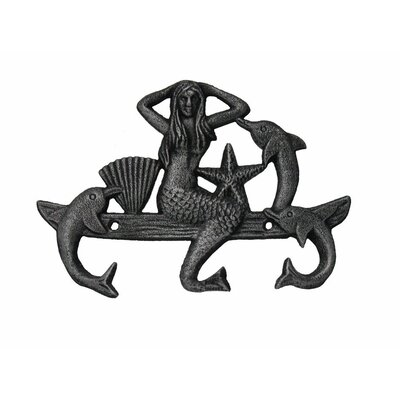 """9"""" Cast Iron Wall Mounted Mermaid with Dolphin Hook Color: Rustic Silver"""