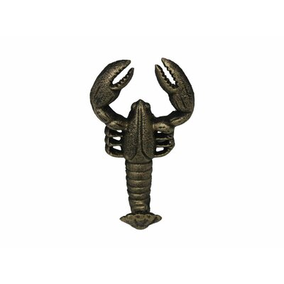 "5"" Rustic Red Cast Iron Wall Mounted Lobster Hook Color: Rustic Gold"