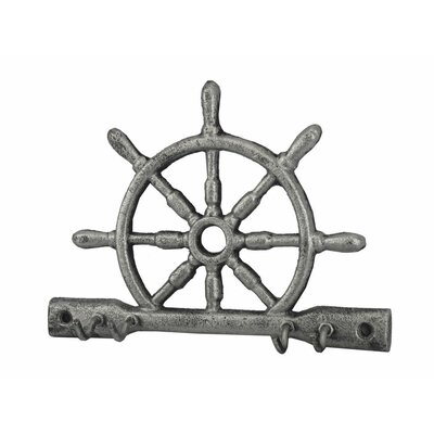 "8"" Cast Iron Ship Wheel with Hooks Color: Rustic Silver"