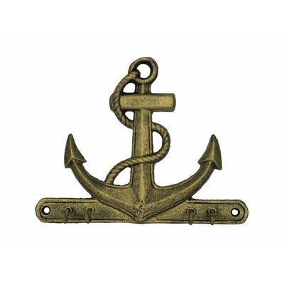 """7"""" Rustic Silver Cast Iron Wall Hooks Color: Rustic Gold"""