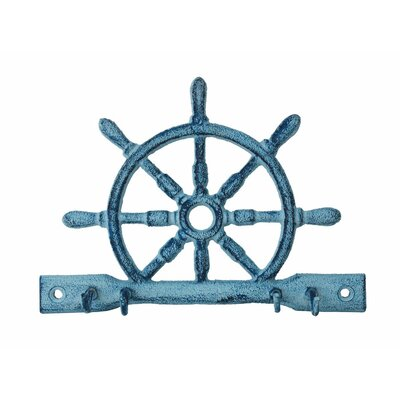 "8"" Cast Iron Ship Wheel with Hooks Color: Rustic Dark Blue Whitewashed"