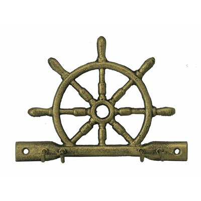 "8"" Cast Iron Ship Wheel with Hooks Color: Rustic Gold"