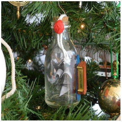Mayflower Ship Glass Bottle Christmas Tree Ornament