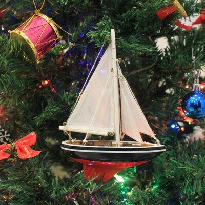 "American 9"" Sailboat Christmas Tree Ornament"