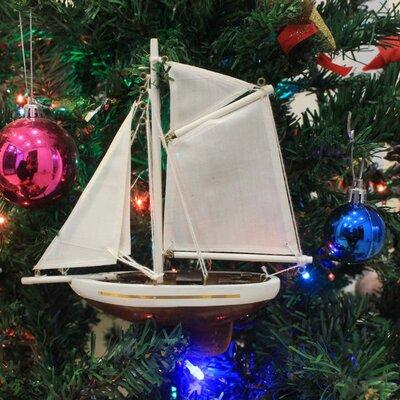 "Columbia 9"" Wooden Model Sailboat Christmas Tree Ornament"
