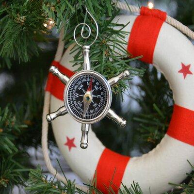 Ship Chrome Wheel Compass Christmas Tree Ornament