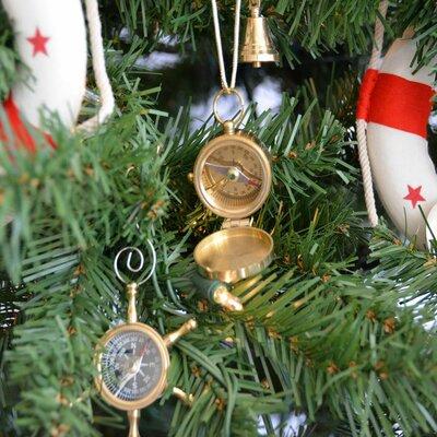 Solid Brass Magellan Compass Christmas Tree Ornament