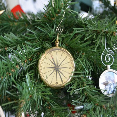 Brass Emerson Poem Compass Christmas Tree Ornament