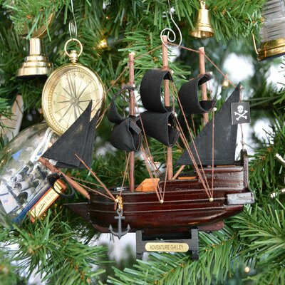 Captain Kidd's Wooden Adventure Galley Model Pirate Ship Christmas Tree Ornament