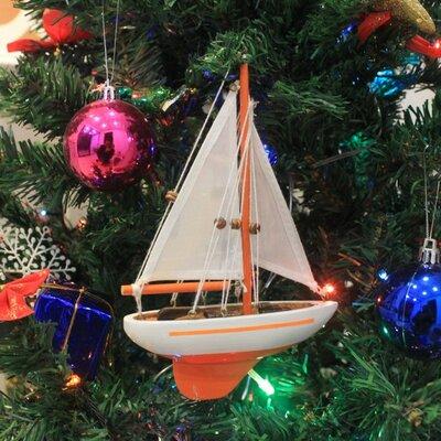 "9"" Wooden Sailboat Christmas Tree Ornament Color: Orange"