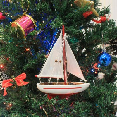 """9"""" Wooden Sailboat Christmas Tree Ornament Color: Red"""