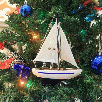 """9"""" Wooden Sailboat Christmas Tree Ornament Color: Blue"""