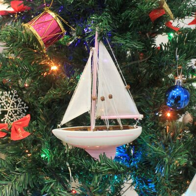 """9"""" Wooden Sailboat Christmas Tree Ornament Color: Pink"""