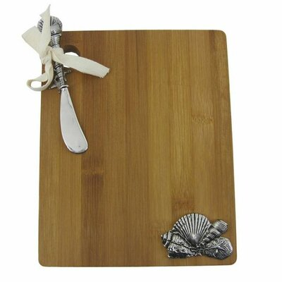 2 Piece Bamboo Sea Shells Cutting Board with Spreader Set