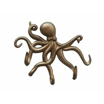 Jessy Octopus Tentacle Wall Hook Finish: Antique Brass