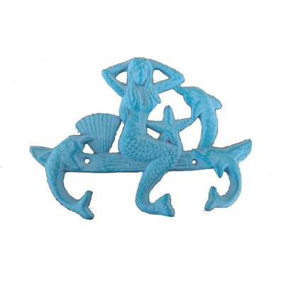 Jarett Mermaid and Dolphin Wall Hook Color: Rustic Light Blue
