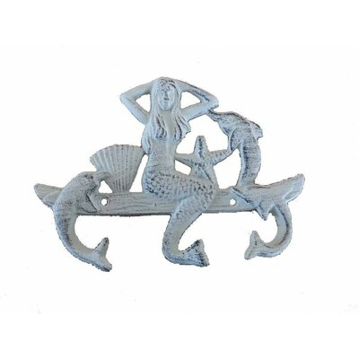 Jarett Mermaid and Dolphin Wall Hook Color: Whitewashed